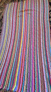 """VTG Crocheted Rainbow  84 X 46""""  Afghan Blanket Bedspread Bright And Lovely"""