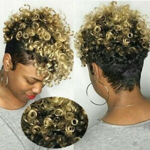 Women's Short Spiral Curly Wig w/Bangs Pixie Cut Black/Brown/Gold Synthetic Hair