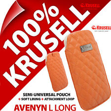 New Krusell Avenyn L Long PU Leather Look Mobile Pouch Case Cover Slim Orange