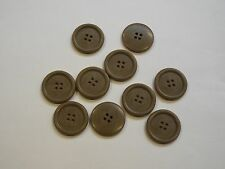 8pc 23mm Coffee Beige Mock Horn Shirt Suit Cardigan Knitwear Button 3933