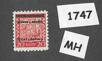 #1747   MH 1939 Overprint stamp 20 Hal BaM Protectorate / Third Reich occupation