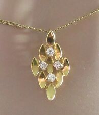 Secondhand 18ct Yellow Gold 4 Stone Diamond Square Pendant & Chain 15 1/3 inches