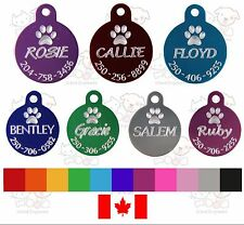PET TAG DOG CIRCLE CUSTOM DIAMOND ENGRAVED PAW DETAILS ON BACK 2 SIZES WITH RING