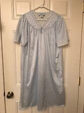 Ashley Taylor Vintage Nightgown Nylon Short Sleeve Blue Size Large