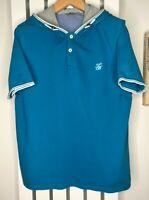TED BAKER T Shirt Tee Hoodie Hooded Blue Short Sleeved Top Ted 5 XL