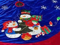 "Vintage Embroidered Christmas Tree Skirt Snowman Snowflakes Velvet 54"" Handmade"