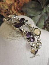 Sterling Silver 925 Wide Multi Color Gemstone Bracelet NWOT