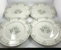 """lot of 4 Franciscan HERITAGE 10 1/4"""" Dinner Plates Green Design Made in USA"""