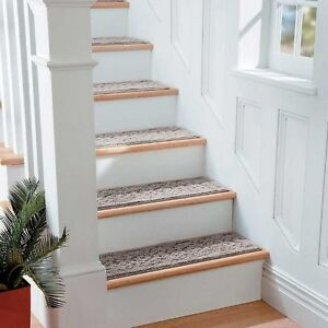 "9"" x 29"" Scroll Washable Stair Treads Non Slip Carpet Set of 4 Comes in 3 Colors"
