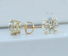 3 ct J SI 100% genuine natural round diamond stud earrings 18k yellow gold screw