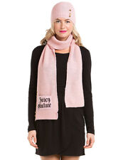 "$95 Juicy Couture ""Crown Button"" Pink Hat & Scarf Set - NEW"