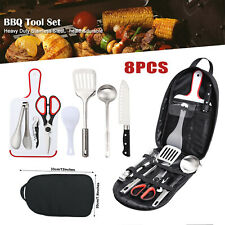 8pcs Grill Accessories Kit Bbq Griddle Barbecue Tools Set Outdoor Cooking Hiking