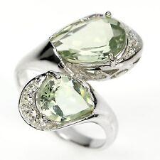 Ring Prasiolith Weißtopas 925 Silber 585 Weißgold Gr. 57