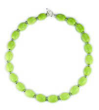 "Green turquoise nugget with silver spacer bead necklace-24"" NKL340016"