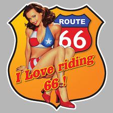 PINUP ROUTE ROAD 66 AUTOCOLLANT STICKER 12cm AUTO MOTO BIKER (RA066)