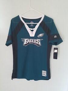 MAJESTIC NFL Team Apparel PHILADELPHIA EAGLES  V-Neck Jersey Shirt Womens NWT