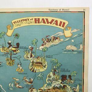 Ruth Taylor ORIGINAL VINTAGE Cartoon Map HAWAII Samoa 1938 Litho  EXC