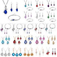 Fashion Bridal Women Crystal Necklace Earrings Bracelet Wedding Jewelry Set Gift