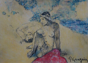 Fine Post Impressionist pastel and gouache painting of a woman, signed Gauguin