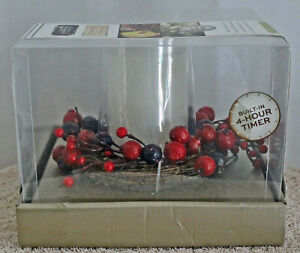 Flameless Candle Apothecary Holiday Wreath Decorative LED 4-hour Timer NIB