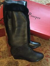 New French Designer Couleur Pourpre Leather With Fur Trim Boots- Uk6/39-£250!
