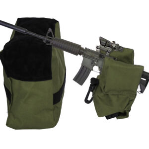 Shooting Hunting Range Sand Bag Rifle Gun Bench Rest Stand Front & Rear Green