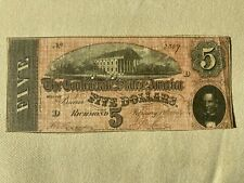T-69 - 1864 - $5 - Confederate (Csa) Paper Money - Currency Note - Authentic