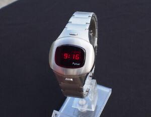 Vintage Pulsar Time Computer P4 Executive LED watch Uhr solid link 1977