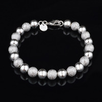Fashion Women 925 Silver Plated Bracelet Jewelry Light Frosted Beads Bangle Gift