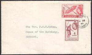 Sarawak 1962 QEII 8c, 4c Used on Cover to Kuching with SIMUNJAN Postmark