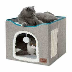 Bedsure Cat Beds for Indoor Cats - Large Cat Cave for Pet Cat House with (Grey)