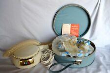 Vintage Dominion 1825A Portable Bonnet Style Hair Dryer Blue Bag Travel Case