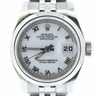 Rolex Datejust Ladies Stainless Steel Watch Jubilee Band White Roman Dial 179160