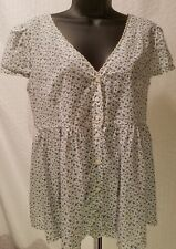 Ralph Lauren DENIM & SUPPLY FLORAL WHITE BLOUSE SHORT SLEEVE VNECK TOP XL XLARGE