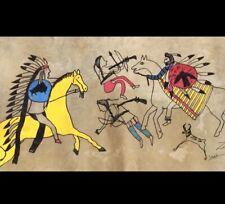 Old Native American Painting on Deer Skin Or Hide Signed Zig 33� X 23�