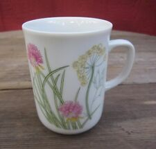"""SHAFFORD Coffee Mug Herbs & Spices White With Pastels Coup Shape 3.75"""" X 2.5 1pc"""