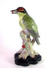 grosse Porzellanfigur - Vogel auf Baumstumpf - Häher Grünspecht - 38cm