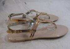 Womens Gold/Skintone Summer Beach Retro Flat Jellies Jelly Sexy Sandal Size 6