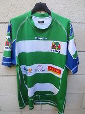 Maillot rugby porté n°10 LES FROGS moulant match worn shirt KAPPA vert blanc XL