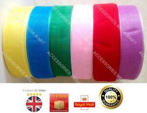 cut length 12m Organza Sheer Ribbon 25mm 1 inch Various color 2m each 13 yards