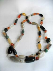 Vintage polished pebble and agate necklace 47in 02 12745