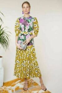 BNWT Rixo Cozi Leopard Daisy Floral Short Sleeved Midi Dress Size XXS XS