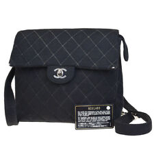 Auth CHANEL CC Logos Quilted Chain Backpack Bag Jerseys Black France 91BE325 48e9864678dab