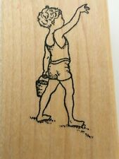 Ann-ticipations Beach Boy Sand Bucket Vacation Summer Days Craft Rubber Stamp