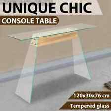 Console Table MDF and Glass 120cm Oak Colour Accent End Side Stand AA