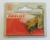 Oreca 4 pz cerniera cerniere x cofanetti 30x20 mm in acciaio ottonato cod. 24836