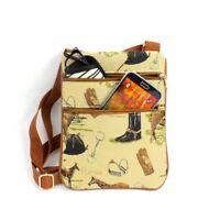 English Horse Crossbody Purse Tapestry Fabric Small Passport Travel Shoulder Bag
