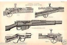Antique Victorian Print c1880 Small Arms Modern Military Breech Action Gras Mann