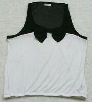 Ardene Tank Top Tee T-Shirt XL Rayon Extra Large White & Black Crewneck Woman's