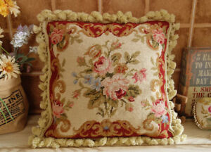 "16"" Home Décor Pillow French Country Chic Shabby Handmade Needlepoint Pillow"